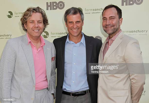 Michael S Smith Gene Baur and James Costos attend 'Bringing Farm Sanctuary To All' a celebration of expanding compassion on June 16 2012 in Los...