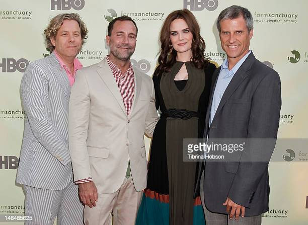 Michael S Smith James Costos Emily Deschanel and Gene Baur attend 'Bringing Farm Sanctuary To All' a celebration of expanding compassion on June 16...
