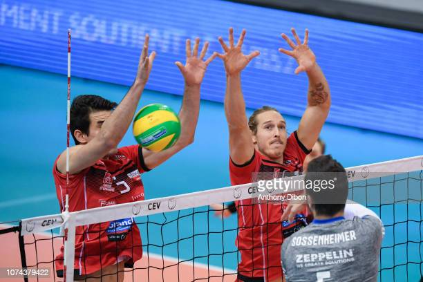 Michael Saeta and Taylor Averill of Chaumont during the CEV Champions League match between Chaumont and VfB Friedrichshafen on December 18 2018 in...