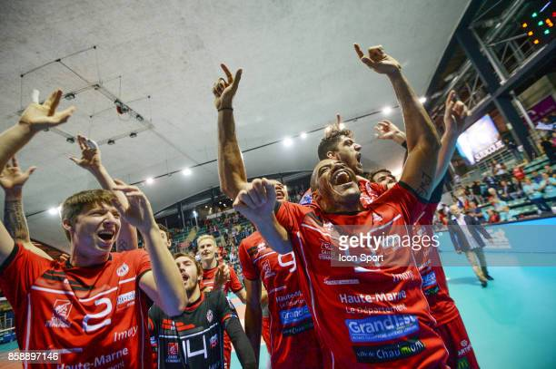 Michael Saeta Jeremie Mouiel Stephen Boyer Javier Gonzales of Chaumont celebrate his victory during the volleyball supercup match between Chaumont...