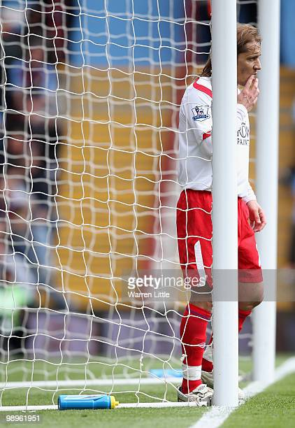 Michael Salgado of Blackburn Rovers looks on from the goal mouth during the Barclays Premier League match between Aston Villa and Blackburn Rovers at...