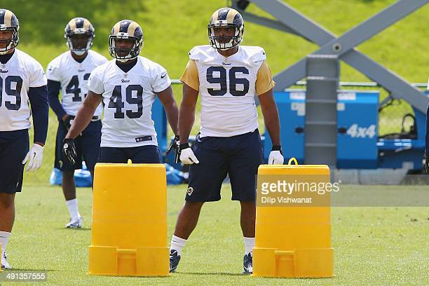 Michael Sam of the St Louis Rams looks on during a rookie minicamp at Rams Park on May 16 2014 in Earth City Missouri