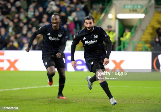 Michael Santos of FC Copenhagen celebrates after scoring his sides first goal during the UEFA Europa League round of 32 second leg match between...