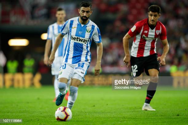 Michael Santos of Leganes Yuri Berchiche of Athletic Bilbao during the La Liga Santander match between Athletic de Bilbao v Leganes at the Estadio...