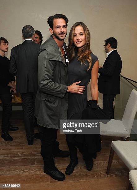 Michael Satsky and Natalia Borges attend Ambassador Paolo Zampolli and Ambassador Amanda Ungaro at the housewarming of the new residence on March 5...