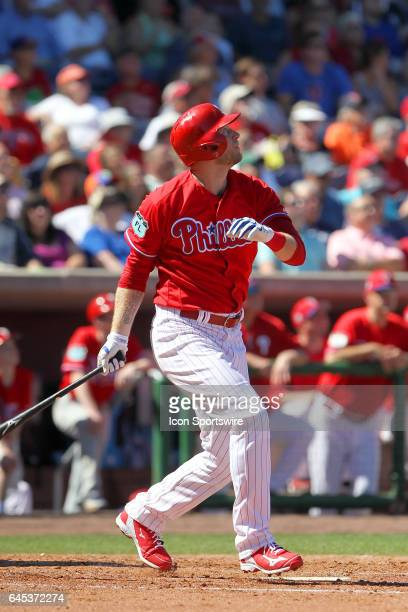 Michael Saunders fo the Phillies at bat during the spring training game between the New York Yankees and the Philadelphia Phillies on February 25...