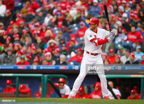 Michael Saunders of the Philadelphia Phillies in action against the Washington Nationals in a game at Citizens Bank Park on April 7 2017 in...
