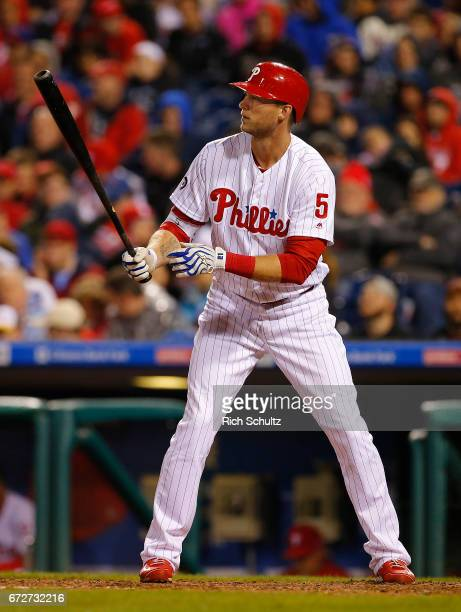 Michael Saunders of the Philadelphia Phillies in action against the Atlanta Braves during a game at Citizens Bank Park on April 22 2017 in...