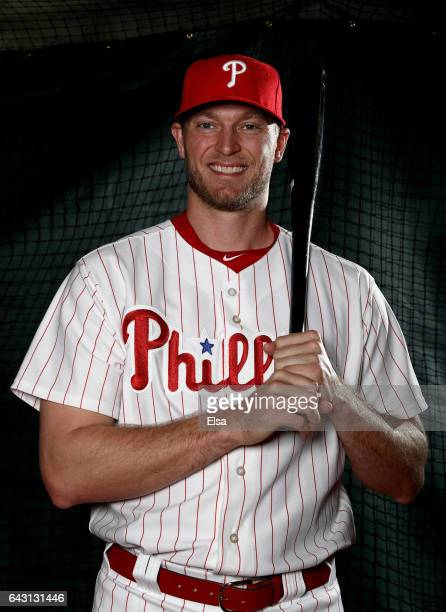 Michael Saunders of the Philadelphia Phillies poses for a portrait during the Philadelphia Phillies photo day on February 20 2017 at Spectrum Field...