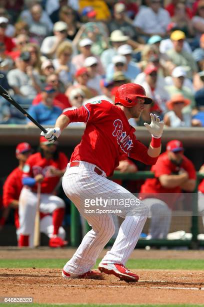 Michael Saunders of the Phillies at bat during the spring training game between the Tampa Bay Rays and the Philadelphia Phillies on February 27 2017...
