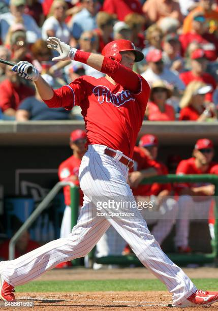 Michael Saunders of the Phillies at bat during the spring training game between the Minnesota Twins and the Philadelphia Phillies on March 03 2017 at...