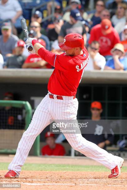 Michael Saunders of the Phillies at bat during the spring training game between the Detroit Tigers and the Philadelphia Phillies on March 05 2017 at...