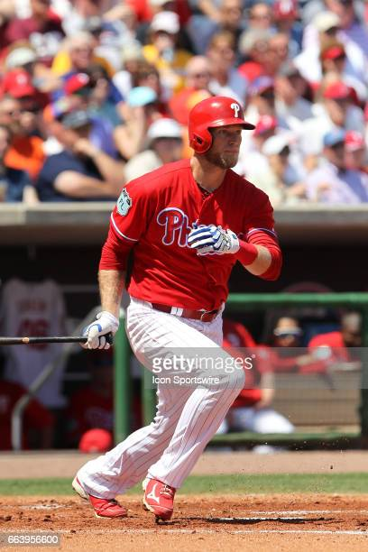 Michael Saunders of the Phillies at bat during the spring training game between the Pittsburgh Pirates and the Philadelphia Phillies on March 26 2017...