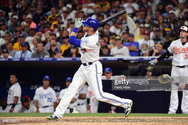 Michael Saunders of the Toronto Blue Jays bats during the 87th Annual MLB AllStar Game at PETCO Park on July 12 2016 in San Diego California