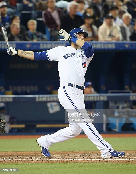 Michael Saunders of the Toronto Blue Jays bats in the fifth inning during MLB game action against the Chicago White Sox on April 25 2016 at Rogers...