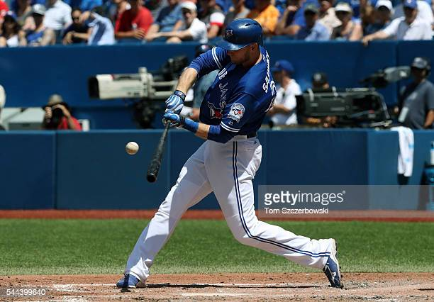Michael Saunders of the Toronto Blue Jays hits a double in the fourth inning during MLB game action against the Cleveland Indians on July 3 2016 at...