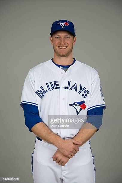 Michael Saunders of the Toronto Blue Jays poses during Photo Day on Saturday February 27 2016 at Florida Auto Exchange Stadium in Dunedin Florida