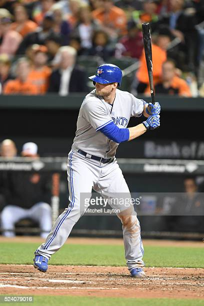 Michael Saunders of the Toronto Blue Jays prepares for a pitch during a baseball game against the Baltimore Orioles at Oriole Park at Camden Yards on...