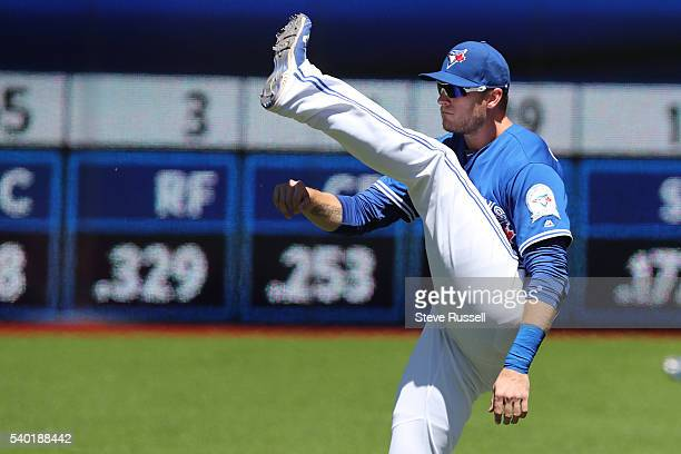 TORONTO ON JUNE 14 Michael Saunders warms up before the game as the Toronto Blue Jays win an afternoon game against the Philadelphia Phillies in...