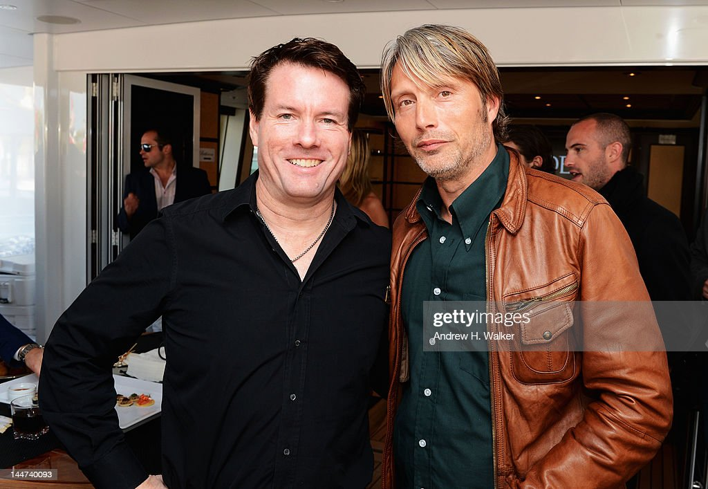 Michael Saylor and Mads Mikkelsen attend Voltage Pictures sales party for 'Necessary Death of Charlie Countryman' with Stella Artois and Belvedere aboard M/Y Harle during the 65th Annual Cannes Film Festival on May 18, 2012 in Cannes, France.