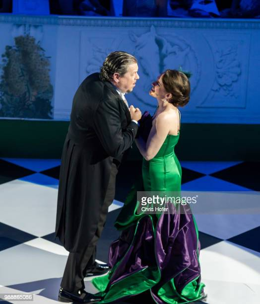 Michael Schade and Rebecca Nelsen performing during the Fete Imperiale 2018 on June 29 2018 in Vienna Austria