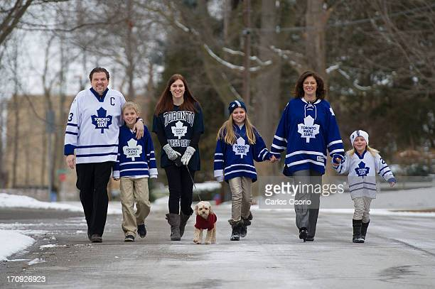 Michael Schade Niki Schade Sophie Schade dog Bella Lisbet Schade Dee McKee and Stella SchadeMcKee wearing Toronto Maple Leafs jersey because the...