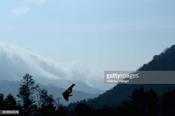 Michael Schaerer of Switzerland practices prior to the Men's Big Air Final on day 15 of the PyeongChang 2018 Winter Olympic Games at Alpensia Ski...