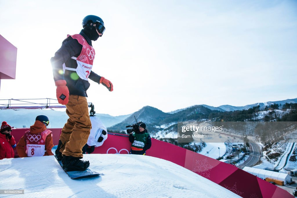 Michael Schaerer, Switzerland dropping in for his first hit of the men's snowboard big air qualification practice at the Pyeongchang 2018 Winter Olympics on February 21st 2018, at the Alpensia Ski Jumping Centre in Pyeongchang-gun, South Korea
