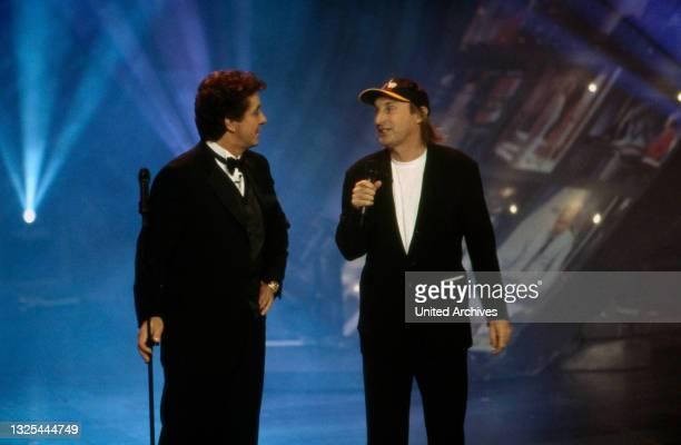 Michael Schanze und Otto Waalkes bei der Verleihung des Telestar 1998 in Köln, Deutschland 1998 im Maritim Hotel(.