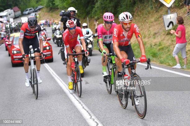 Michael Schar of Switzerland and BMC Racing Team / Dimitri Claeys of Belgium and Team Cofidis / Thomas Scully of Australia and Team EF Education...
