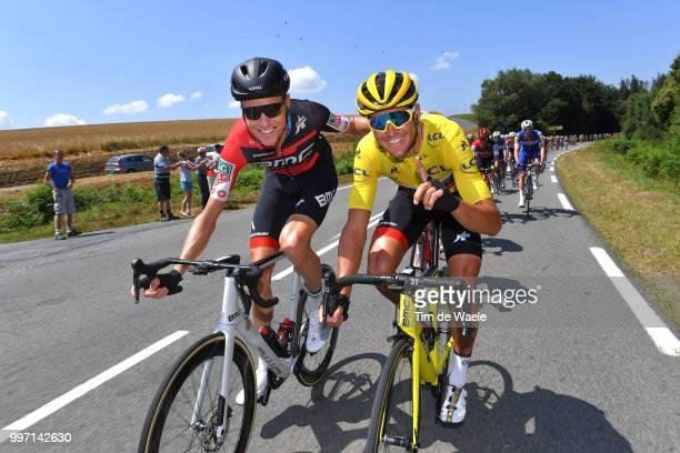Michael Schar of Switzerland and BMC Racing Team / Greg Van Avermaet of Belgium and BMC Racing Team Yellow Leader Jersey / during 105th Tour de...
