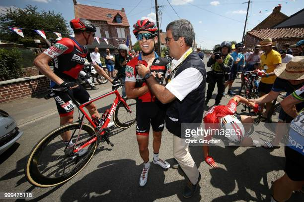 Michael Schar of Switzerland and BMC Racing Team / Richie Porte of Australia and BMC Racing Team / Crash / Injury / Doctor / Medical / Abandon /...