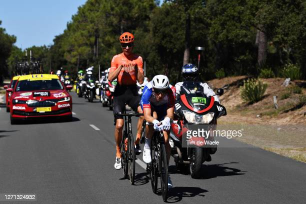 Michael Schar of Switzerland and CCC Team / Stefan Kung of Switzerland and Team Groupama - FDJ / Breakaway / Fun / during the 107th Tour de France...