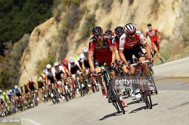 Michael Schar of Switzerland and Danilo Wyss of Switzerland, both riding for BMC Racing Team, lead the peloton during Stage 2 of the Amgen Tour of...