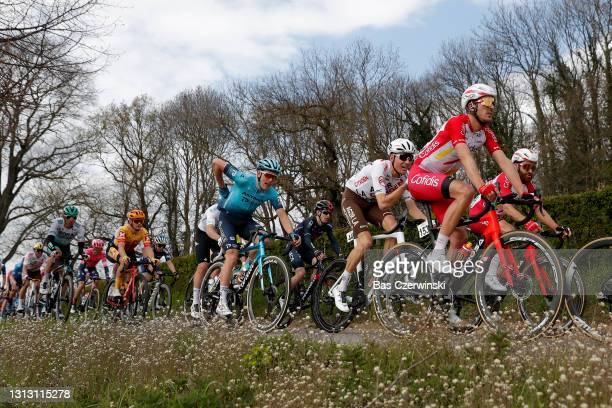 Michael Schar of Switzerland and Team AG2R Citröen Team & Ruben Fernandez Andujar of Spain and Team Cofidis during the 55th Amstel Gold Race 2021,...