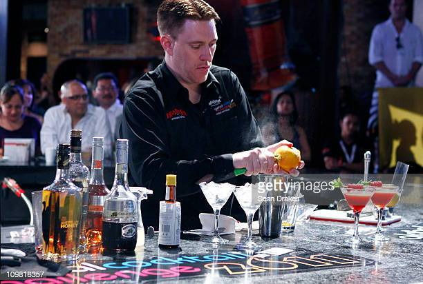 Michael Schaus from USA competes in the finals of the Angostura Global Cocktail Challenge at Zen Nightclub on March 6 2011 in Port of Spain Trinidad