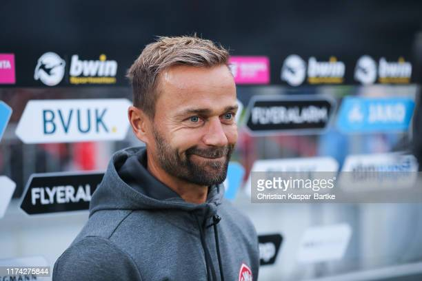 Michael Schiele Head Coach of FC Würzburger Kickers looks on prior to the 3 Liga match between FC Wuerzburger Kickers and TSV 1860 Muenchen at...