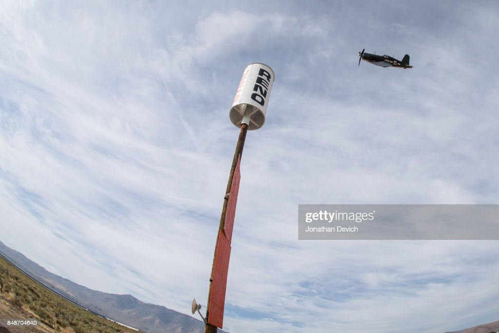 Michael Schiffer racing in the unlimited class rounds the final pylon on the way to the finish line at the Reno Championship Air Races on September 17, 2017 in Reno, Nevada.