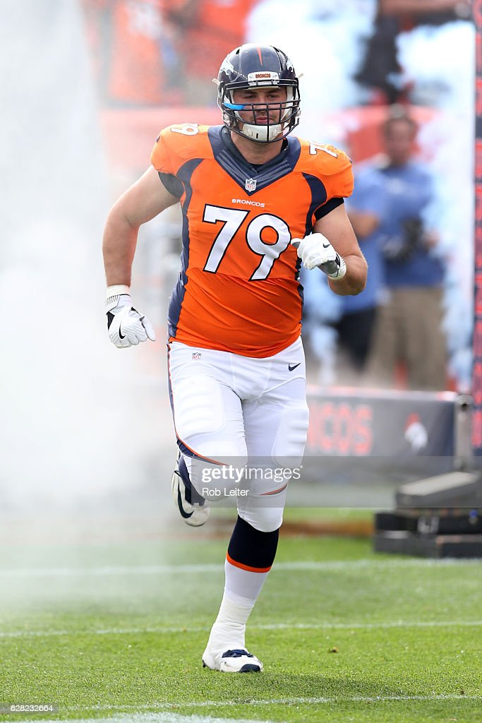 11d9104c Michael Schofield of the Denver Broncos is introduced before the ...