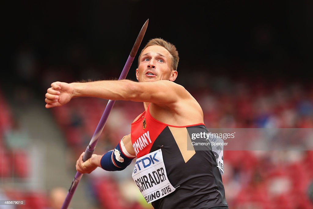 Michael Schrader of Germany competes in the Men's Decathlon Javelin during day eight of the 15th IAAF World Athletics Championships Beijing 2015 at Beijing National Stadium on August 29, 2015 in Beijing, China.