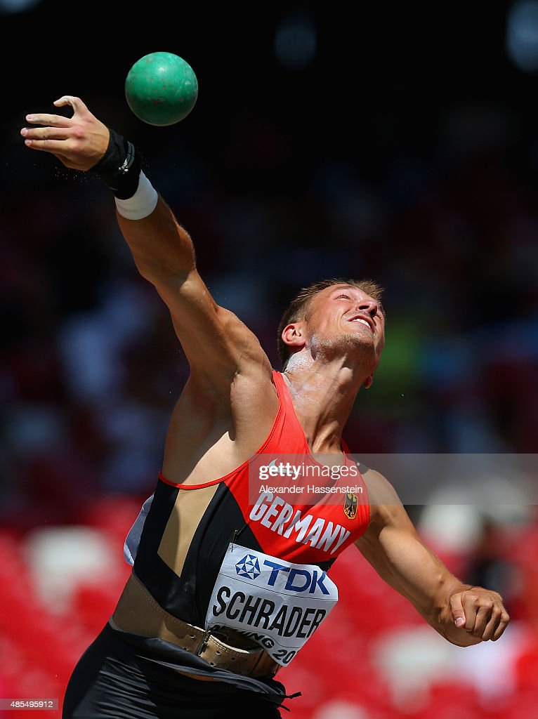 Michael Schrader of Germany competes in the Men's Decathlon Shot Put during day seven of the 15th IAAF World Athletics Championships Beijing 2015 at Beijing National Stadium on August 28, 2015 in Beijing, China.