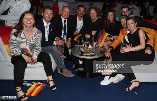 Michael Schulte of Germany in the green room during the Eurovision 2018 Grand Final at Altice Arena on May 12 2018 in Lisbon Portugal