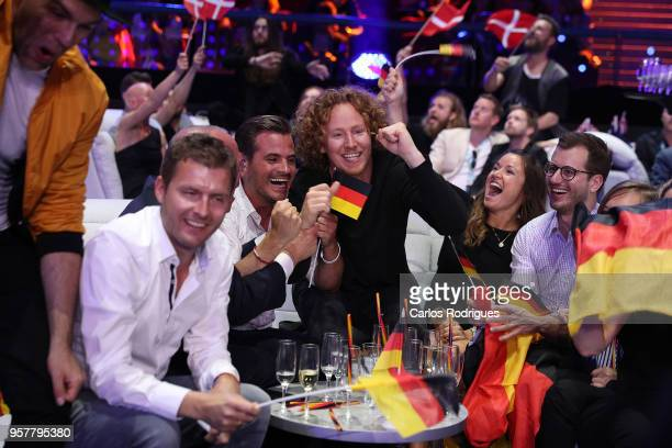 Michael Schulte of Germany reacts in the green room during the Eurovision 2018 Grand Final at Altice Arena on May 12 2018 in Lisbon Portugal