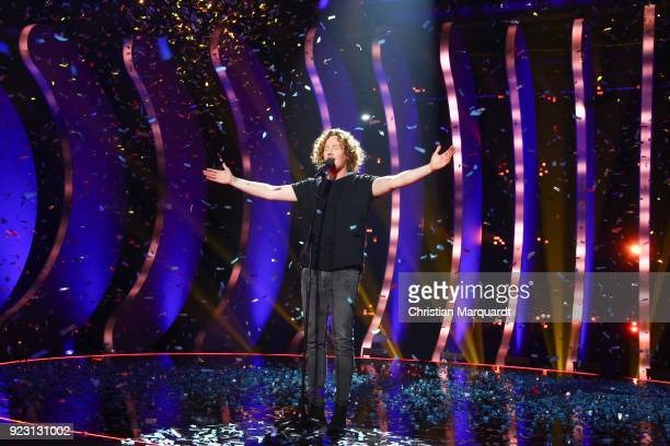 Michael Schulte performs after winning the 'Eurovision Song Contest 2018 Unser Lied fuer Lissabon' show with his song 'You Let me Walk Alone' on...