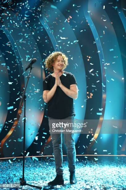 Michael Schulte poses after winning the 'Eurovision Song Contest 2018 Unser Lied fuer Lissabon' show with his song 'You Let me Walk Alone' on...