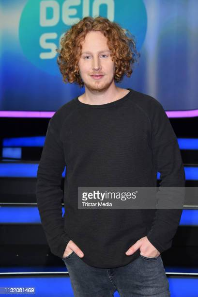 Michael Schulte poses during a photocall after the finals of the KIKA / ZDF television competition 'Dein Song 2019' at MMC Studios on March 22 2019...