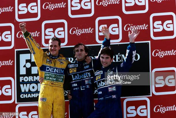 Michael Schumacher Alain Prost Damon Hill Grand Prix of Portugal Estoril 26 September 1993
