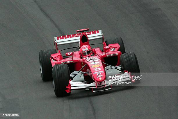 Michael Schumacher comes through the final turn during the 2005 Formula One United States Grand Prix at the Indianapolis Motor Speedway, Sunday, June...