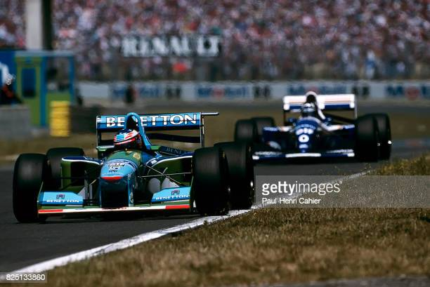 Michael Schumacher Damon Hill BenettonFord B195 WilliamsRenault FW16 Grand Prix of France MagnyCours 03 July 1994 Michael Schumacher ahead of rival...