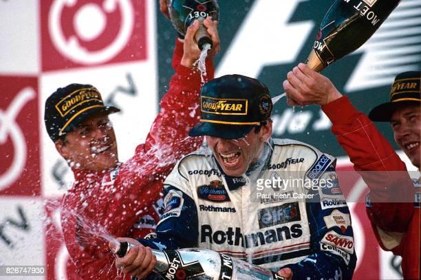 Michael Schumacher, Damon Hill, Mika Hakkinen, Grand Prix of Japan, Suzuka, 13 October 1996. Damon Hill was crowned World Champion by winning the...